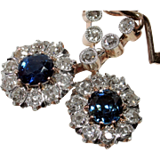 STUNNING 2.08ct Antique Edwardian Sapphire & Diamond Earrings