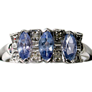 SALE MOTHER'S DAY SALE! Lavender Tanzanite Diamond Ring in 14k White Gold