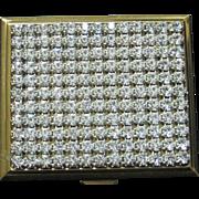 SALE SALE Vintage rhinestone compact gold  color metal frame