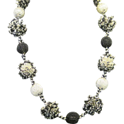 SALE SALE Vintage black and white seed bead balls necklace