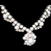 SALE SALE Vintage white glass and ice rhinestone pendant choker necklace