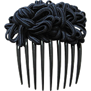 SALE Vintage black celluloid hair comb with ornamental fabric top