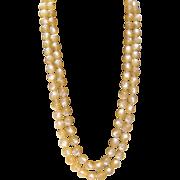 SALE SALE Vintage peach double strand moonglow bead necklace