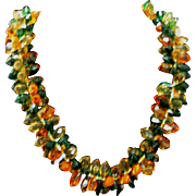 Vintage West Germany  orange green and amber lucite short necklace