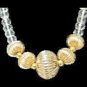 SALE SALE Vintage crystals necklace with goldtone focal point