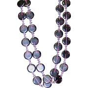 SALE Vintage long purple glass necklace with discs and crystals