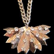 SALE SALE Vintage sterling silver fan pendant necklace with rhinestones