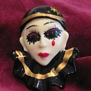 SOLD Vintage enamel clown face pin