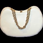 SALE SALE 50% Vintage crescent shape white leather purse