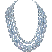 SALE SALE Vintage light blue triple strand vaseline bead necklace