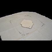 Vintage beige linen cutout tea cloth with four matching napkins