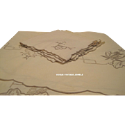 Vintage beige embroidered large oval linen table cloth with napkins