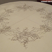 Vintage embroidered beige linen table cloth smaller