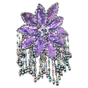 Vintage sequinned iridescent floral pin  applique