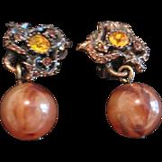 Vintage costume  earrings amber rhinestones bronzed metal