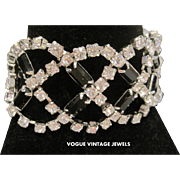 Vintage rhinestone criss cross bracelet set deco style