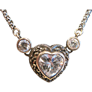 Vintage Judith Jack sterling heart necklace with marcasite and crystals