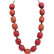 Vintage red orange knotted African bead necklace