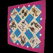 Authentic vintage HERMES PARIS silk scarf 1978 LE MONDE DU POLO