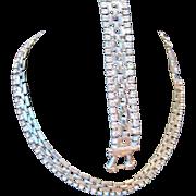 Vintage silvertone link metal necklace and bracelet set rhinestone enhanced