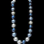 Vintage Blue Baroque Popcorn Bead Faux Pearls