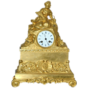 REDUCED Antique French Ormolu Figural Mantel Clock