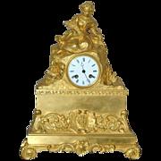 REDUCED Antique French Ormolu Figural Mantel Clock