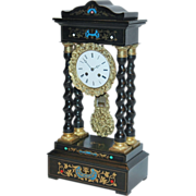 """REDUCED Antique French, """"Japy Freres"""", Inlaid and Gilded Empire Mantel Clock"""