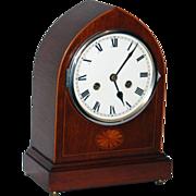 REDUCED c.1930 English Mahogany & Inlay 8 day Time & Chime Bracket Clock