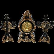 SALE Antique F.Kroeber Clock Co. Black Enamel Mantel Clock & Two Candelabras