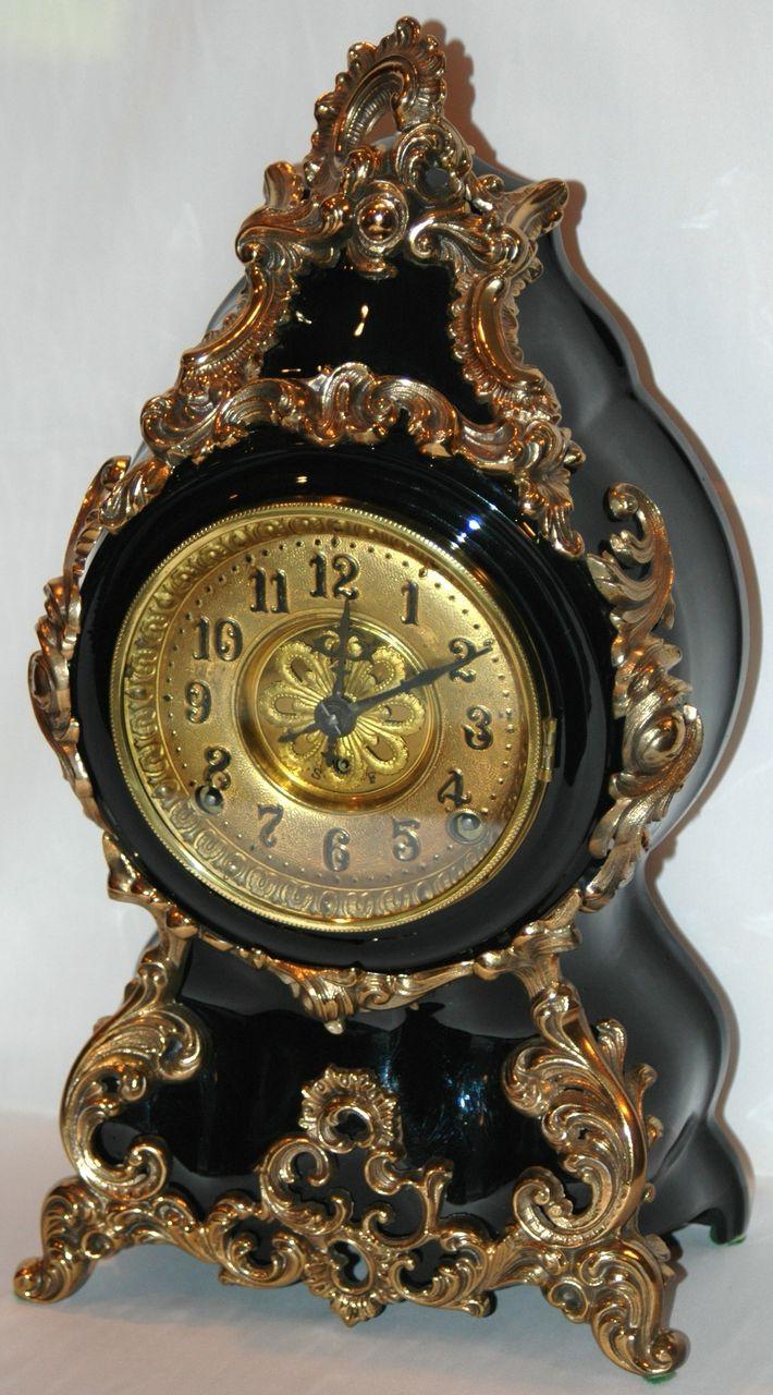Antique F Kroeber Clock Co Black Enamel Mantel Clock