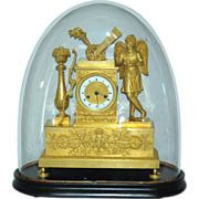 REDUCED Antique French Figural Mantel Clock with Glass Dome