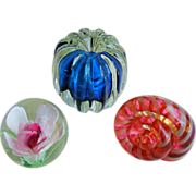 SOLD Set of 3 Art Glass Paperweights