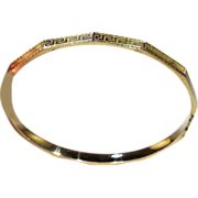 Art Deco Stacking Bangle Bracelet with Greek Key Motif, 9k Gold