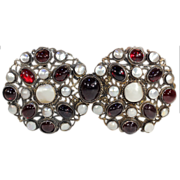 SALE Antique Silver Belt Buckle, Austro-Hungarian Garnet and Mother of Pearl, c.1870