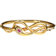Antique Ruby and Diamond Snake Bangle c.1890, 18k Gold