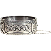 Antique Victorian Acorn and Oak Leaf Sterling Silver Bangle Bracelet, Birmingham 1886