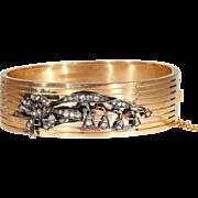 Wonderful Antique Lily of the Valley Diamond Studded Gold Bangle, 18k Bracelet