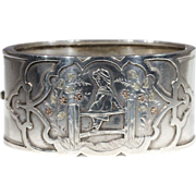Antique Victorian Kate Greenaway Silver Bangle with Gold Accents