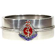 Vintage WWII Sweetheart Silver Bangle with Royal Army Medical Corp. Badge in Enamel