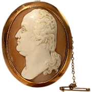 Rare Antique Victorian George Washington Shell Cameo in 9k Gold Frame - Clearance Sale!!