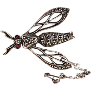 SALE Vintage Art Deco Wasp Brooch Pin with Sparkling Marcasite Gems, French 1920s