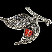 SALE Vintage Leaf and Ladybug Silver Art Deco Marcasite Brooch Pin