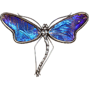 Vintage Morpho Wing Dragonfly Pendant in Sterling Silver and Rock Crystal Brooch Pin
