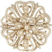 SALE Antique Georgian Tudor Rose Pearl Wedding Brooch Pin in Box