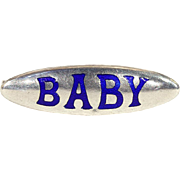 Antique Charles Horner Silver and Enamel 'Baby' Brooch Pin, Cobalt Blue