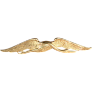 French Bloomed Gold Crane in Flight Brooch Pin in 18k Gold