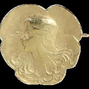 Antique French Art Nouveau Brooch by Felix Rasumny in 18k Gold, c. 1900