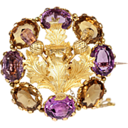 Fantastic Antique Scottish Amethyst and Citrine 18k Gold Thistle Brooch