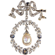 SALE Edwardian Diamond, Pearl and Platinum Pendant Brooch, Garland Era Convertible